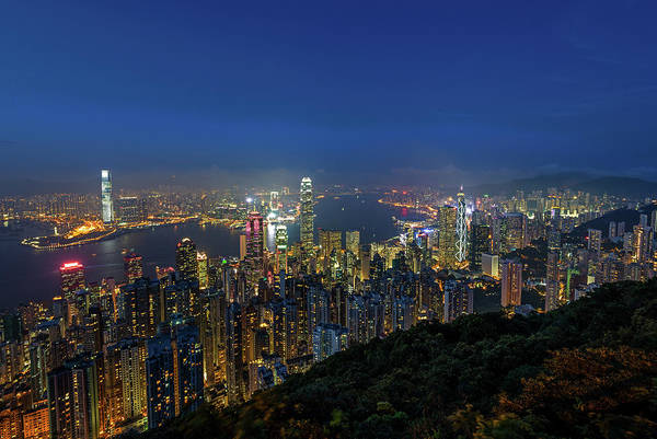 Kowloon Photograph - Hong Kong, Victoria Harbour by Wilfred Y Wong