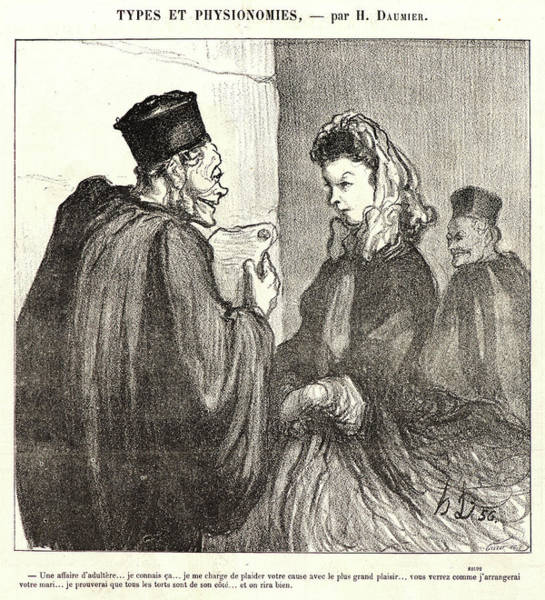 He 219 Wall Art - Drawing - Honoré Daumier French, 1808 - 1879. An Adulterous Affair by Litz Collection
