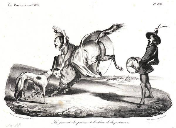 Chien Drawing - Honoré Daumier French, 1808 - 1879. La Jument Du Prince Et by Litz Collection