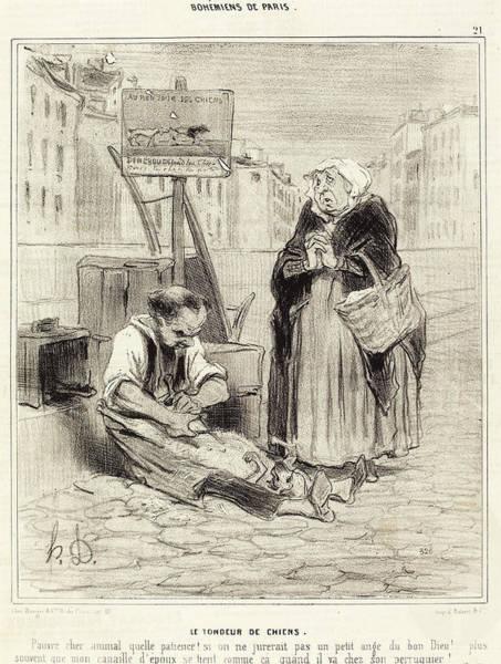 Chien Drawing - Honoré Daumier French, 1808 - 1879, Le Tondeur De Chiens by Quint Lox