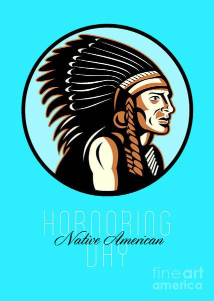 Indian Brave Digital Art - Honoring Native American Day Retro Greeting Card by Aloysius Patrimonio