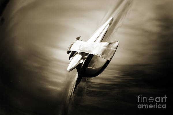 Photograph - Hood Ornament 1949 Mercury Classic Car In Sepia 3195.01 by M K Miller