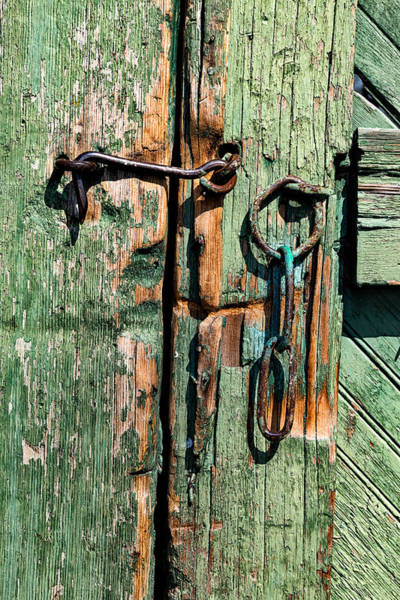 Rusty Chain Wall Art - Photograph - Hook And Eye On A Green Door by Kathleen Bishop