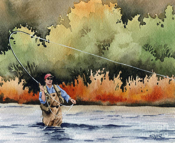 Trout Watercolor Wall Art - Painting - Hooked Up by David Rogers