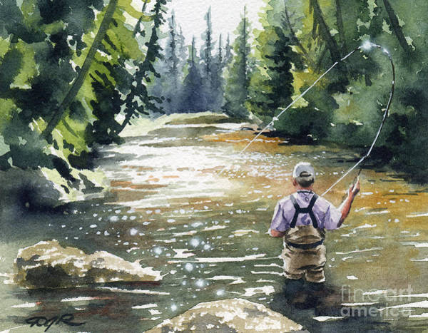 Trout Watercolor Wall Art - Painting - Hooked Up II by David Rogers