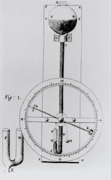 1665 Wall Art - Photograph - Hooke's Wheel Barometer by Science Photo Library