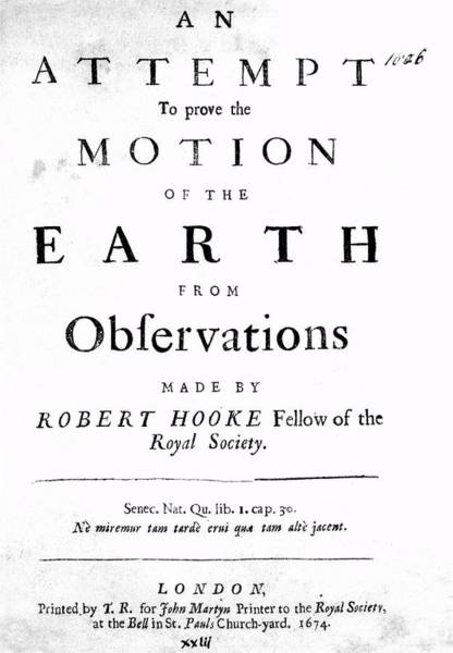 Gravitation Photograph - Hooke's Work On Gravitation by Royal Astronomical Society/science Photo Library