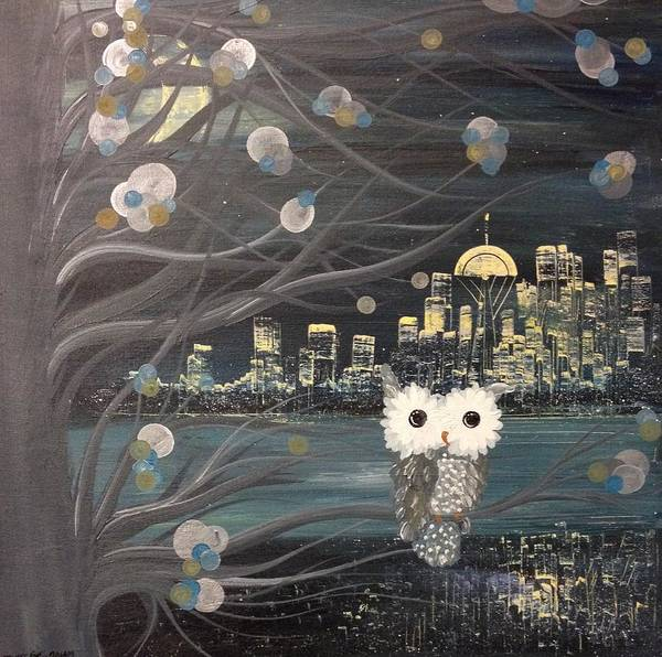 Painting - Hoolandia - Hoo's City 02 by MiMi  Stirn