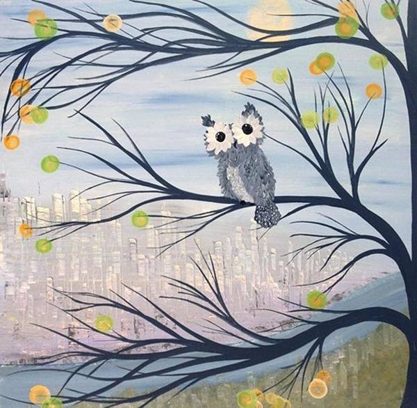 Burrowing Owl Painting - Hoolandia Hoo's City 01 by MiMi  Stirn