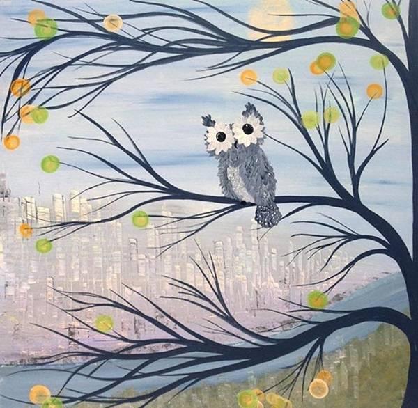 Painting - Hoolandia Hoo's City 01 by MiMi  Stirn