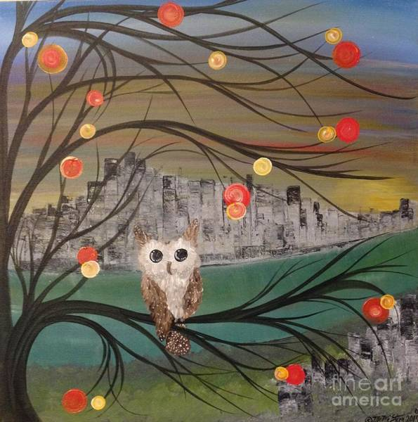 Burrowing Owl Painting - Hoolandia Hoo's City 03 by MiMi  Stirn