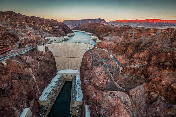 Hoover Dam At Dusk Elevated View Art Print by Bob Stefko