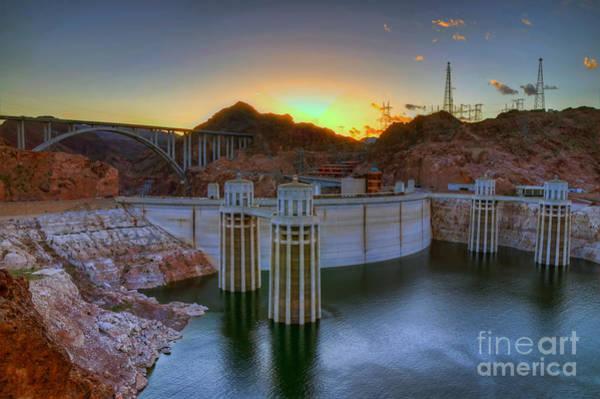 Photograph - Hoover Dam At Sunset by Eddie Yerkish