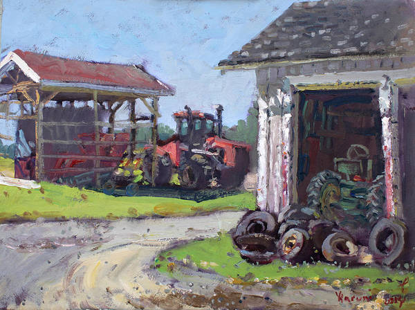 Tractors Wall Art - Painting - Hoover Farm In Sanborn by Ylli Haruni