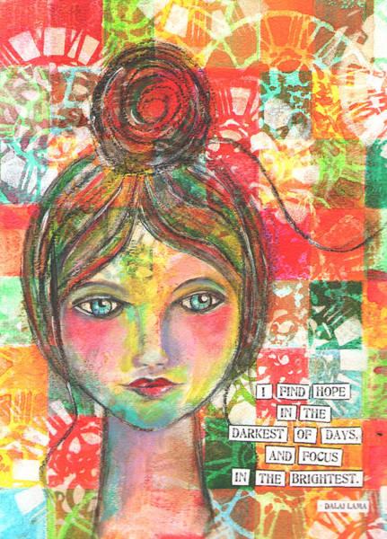 Dalai Lama Wall Art - Mixed Media - Hope In The Dark by Lynn Colwell
