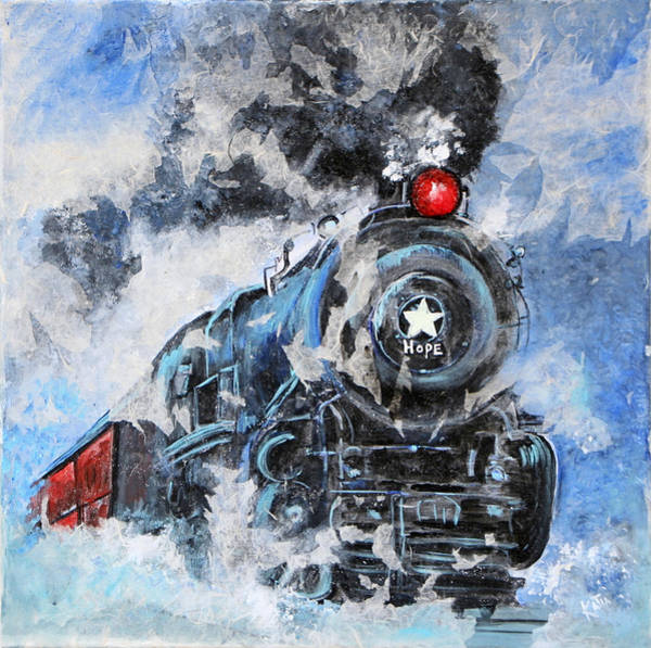 Red Caboose Painting - Hope Train  by Katia Ramirez