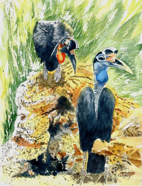 Hornbill Painting - Hornbill Courtship by Ralph Kingery