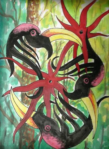 Hornbill Painting - Hornbill Motions by Ali Mohamad