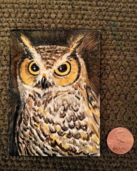 Painting - Horned Owl by Steve Ozment