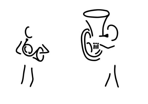 Bugling Drawing - Hornist Tuba Brass Player by Lineamentum