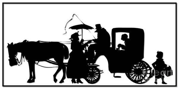 Horse And Carriage Silhouette Art Print