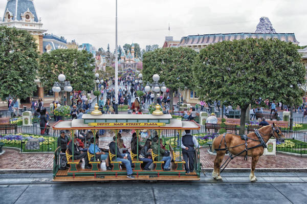 Clothier Photograph - Horse And Trolley Main Street Disneyland 01 by Thomas Woolworth