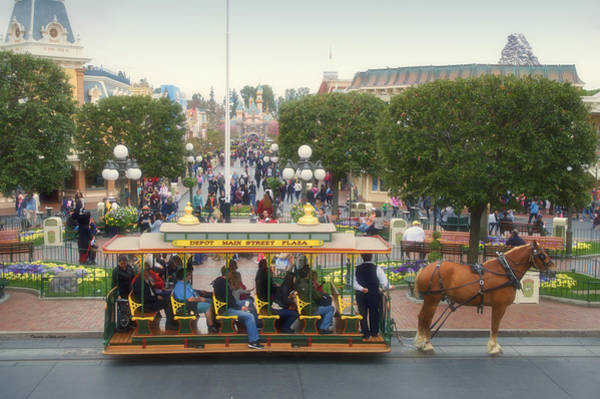 Clothier Photograph - Horse And Trolley Main Street Disneyland 02 by Thomas Woolworth