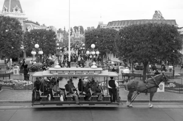 Clothier Photograph - Horse And Trolley Main Street Disneyland Bw by Thomas Woolworth