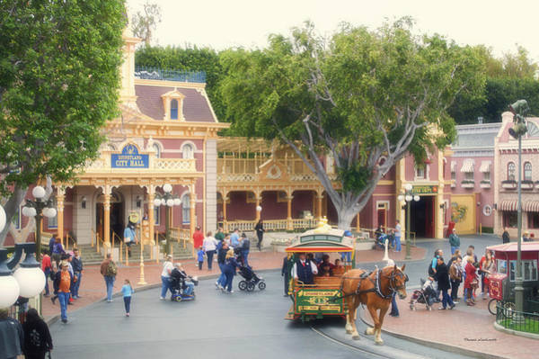 Clothier Photograph - Horse And Trolley Turning Main Street Disneyland 02 by Thomas Woolworth