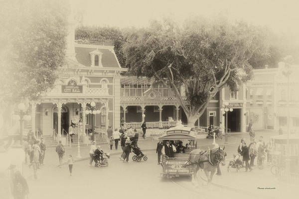 Clothier Photograph - Horse And Trolley Turning Main Street Disneyland Heirloom by Thomas Woolworth