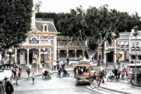 Clothier Photograph - Horse And Trolley Turning Main Street Disneyland Sc by Thomas Woolworth