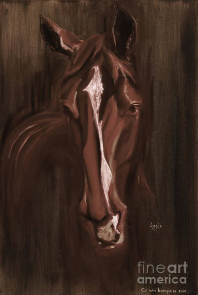 Horse Apple Warm Brown Art Print
