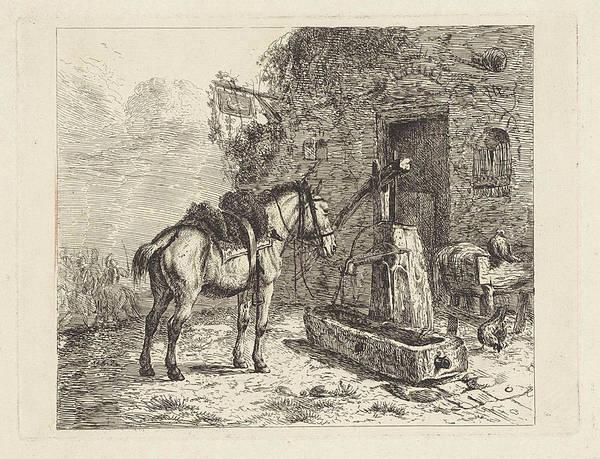 Water Pump Drawing - Horse Before An Inn, Abraham Hendrik Winter by Abraham Hendrik Winter