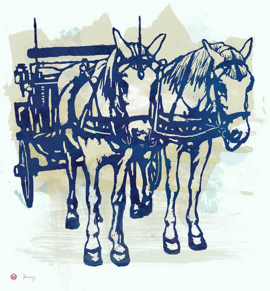 Litter Drawing - Horse Carriage - Stylised Pop Modern Etching Art Portrait by Kim Wang