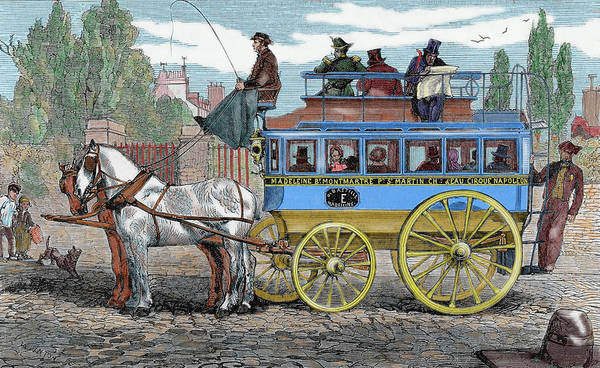 Horseman Photograph - Horse-drawn Omnibus by Prisma Archivo