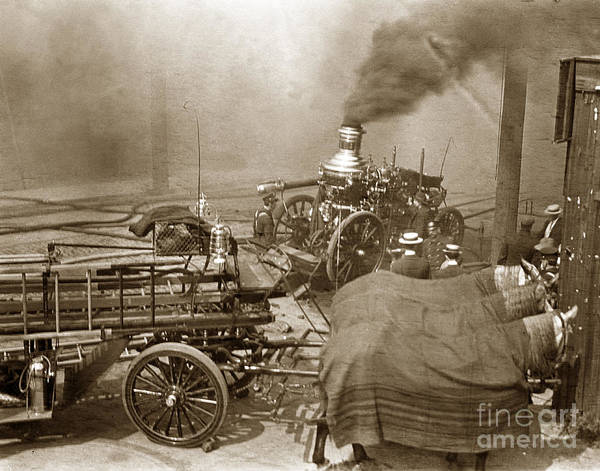 Photograph - Horse Drawn Water Steam Pumper Fire Truck Circa 1906 by California Views Archives Mr Pat Hathaway Archives