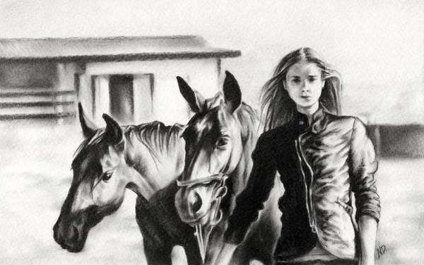 Herd Drawing - Horse Farm by Natasha Denger