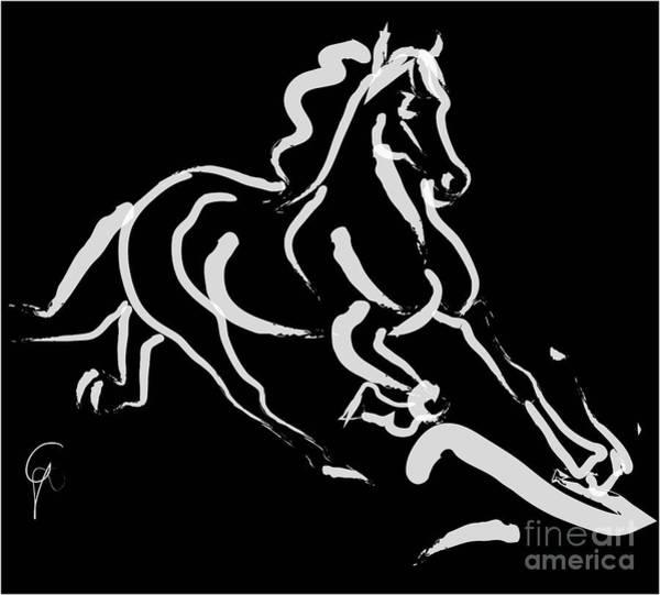Painting - Horse - Fast Runner- Black And White by Go Van Kampen