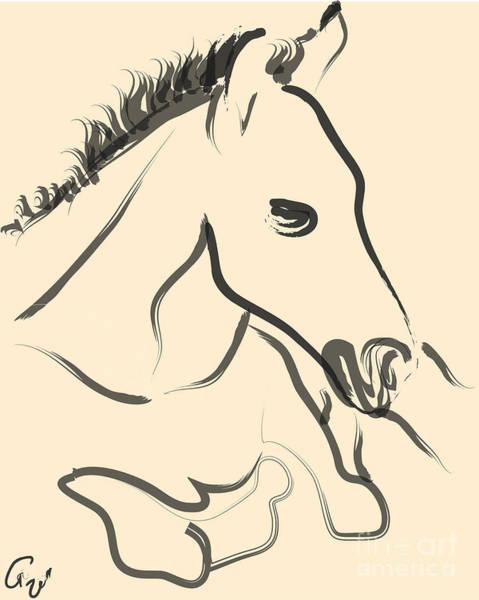 Painting - Horse-foal-pure by Go Van Kampen