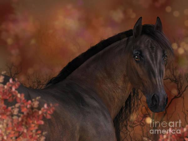 Digital Art - Horse In Autumn Portrait by Elle Arden Walby