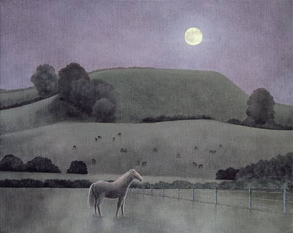 English Countryside Photograph - Horse In Moonlight, 2005 Oil On Canvas by Ann Brain