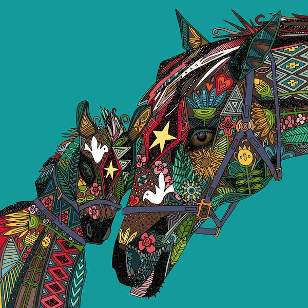 Teal Drawing - Horse Love Teal by MGL Meiklejohn Graphics Licensing