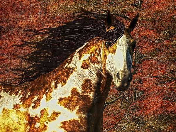 Digital Art - Horse Of Autumn Colors by Daniel Eskridge