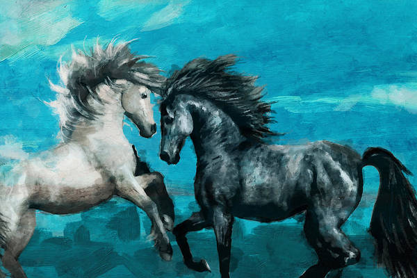 Running Horses Painting - Horse Paintings 011 by Catf