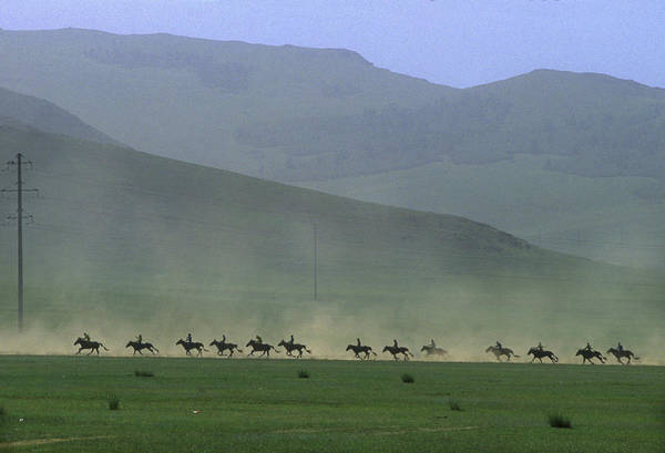 Pferd Photograph - Horse Race, Nadaam Festival by Per-Andre Hoffmann