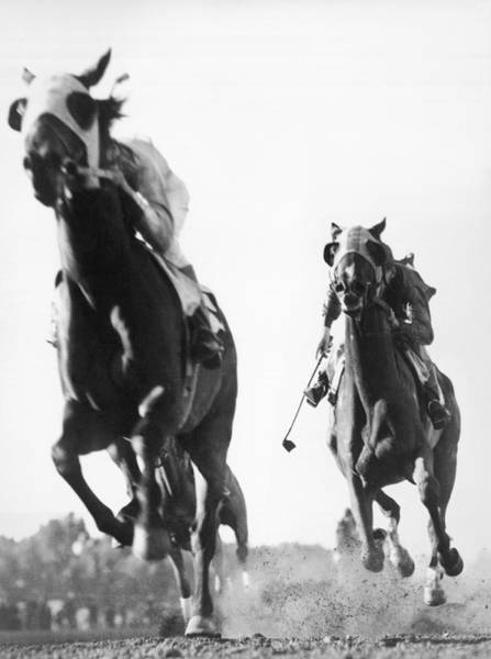Racetrack Photograph - Horse Racing At Tanforan Track by Underwood Archives