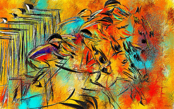 Thoroughbred Racing Wall Art - Painting - Horse Racing Colorful Abstract  by Lourry Legarde