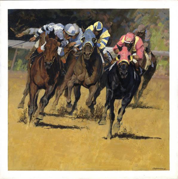 Wall Art - Painting - Horse Racing Playfellow by Don  Langeneckert