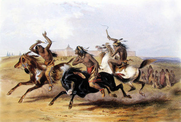 Horse Feathers Digital Art - Horse Racing Of The Sioux by Karl Bodmer
