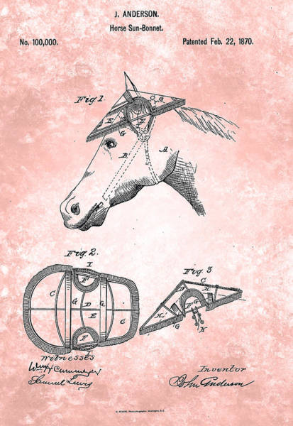 Painting - Horse Sun-bonnet Patent From 1870 by Celestial Images